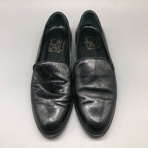 Joan & David black quilted leather loafers